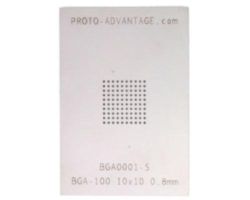 BGA-100 (0.8 mm pitch, 10 x 10 grid) Stainless Steel Stencil 0
