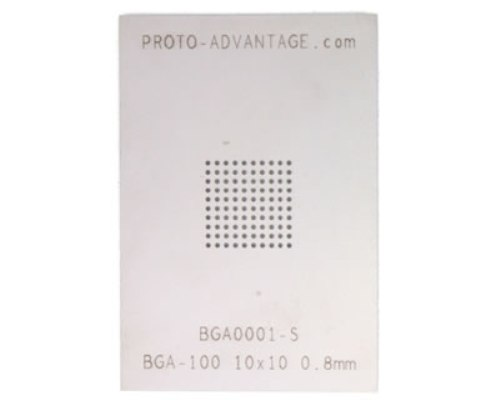 BGA-100 (0.8 mm pitch, 10 x 10 grid) Stainless Steel Stencil 0