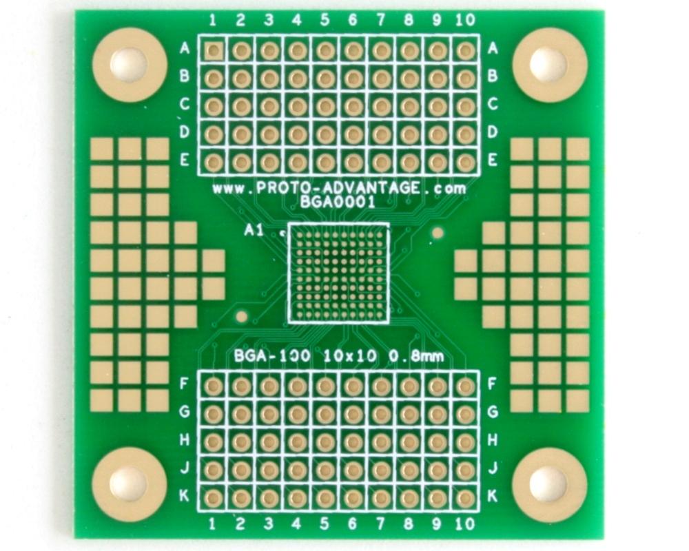 BGA-100 SMT Adapter (0.8 mm pitch, 10 x 10 grid) 0