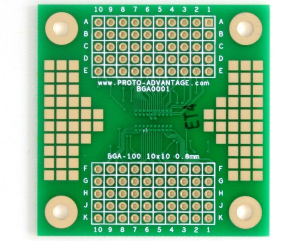 BGA-100 SMT Adapter (0.8 mm pitch, 10 x 10 grid) 1