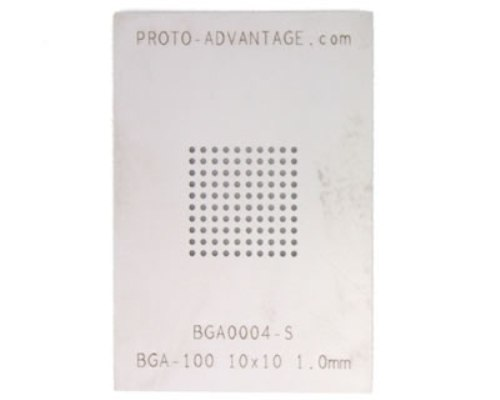 BGA-100 (1.0 mm pitch, 10 x 10 grid) Stainless Steel Stencil 0