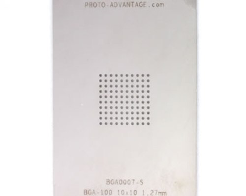 BGA-100 (1.27 mm pitch, 10 x 10 grid) Stainless Steel Stencil 0
