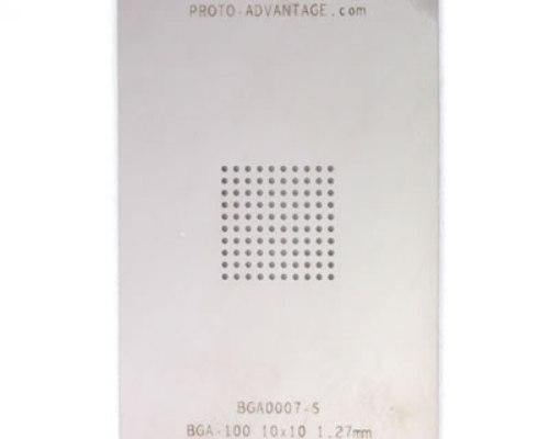 BGA-100 (1.27 mm pitch, 10 x 10 grid) Stainless Steel Stencil 0