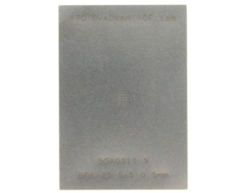 BGA-25 (0.5 mm pitch, 5 x 5 grid) Stainless Steel Stencil 0