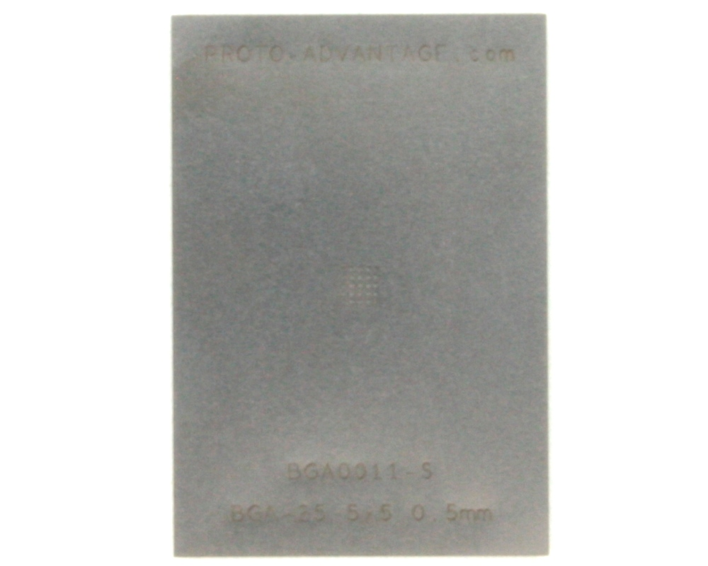 BGA-25 (0.5 mm pitch, 5 x 5 grid) Stainless Steel Stencil 0