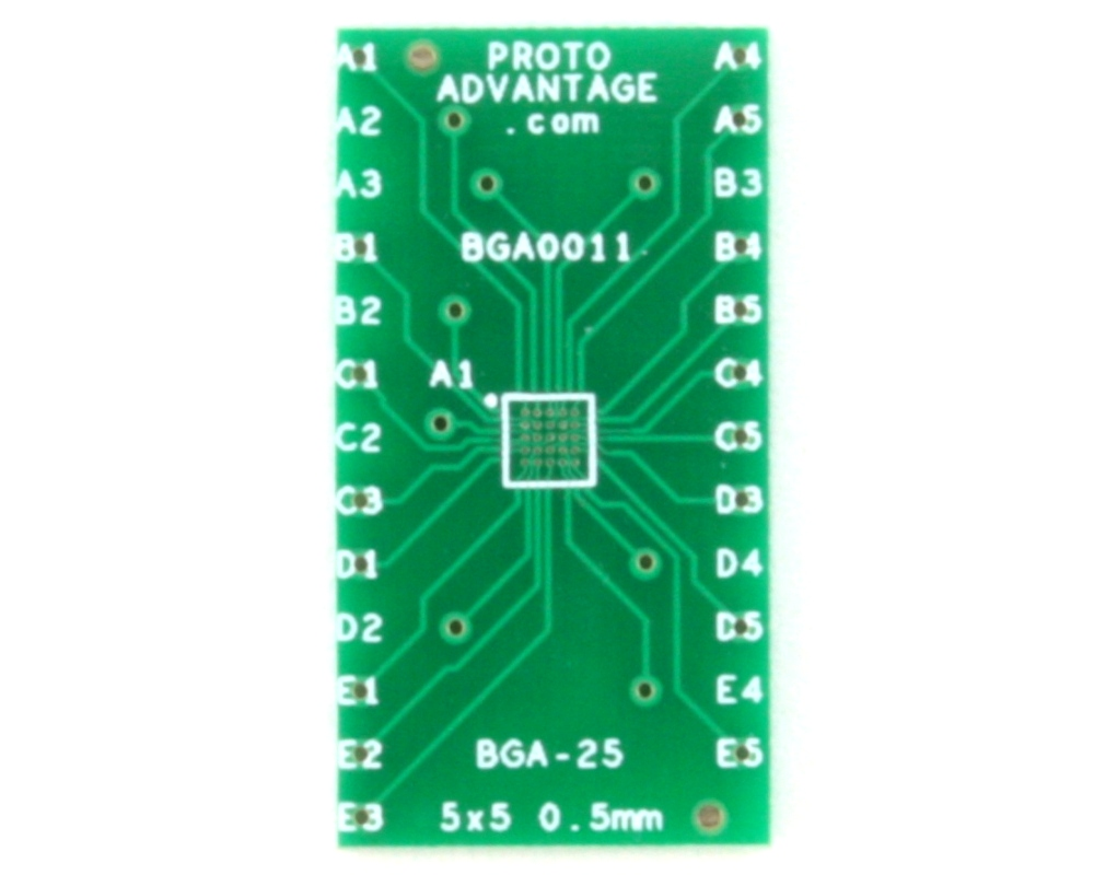 BGA-25 to DIP-25 SMT Adapter (0.5 mm pitch, 5 x 5 grid) 0