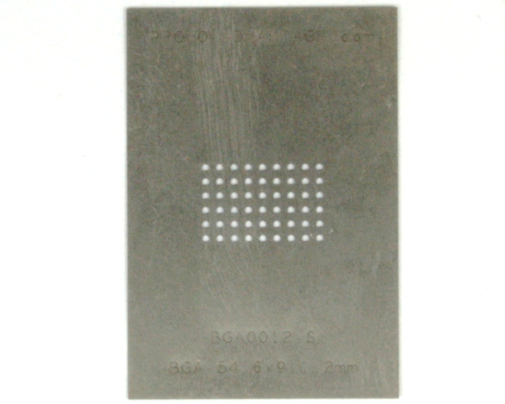 BGA-54 (1.2mm pitch, 6 x 9 grid) Stainless Steel Stencil 0