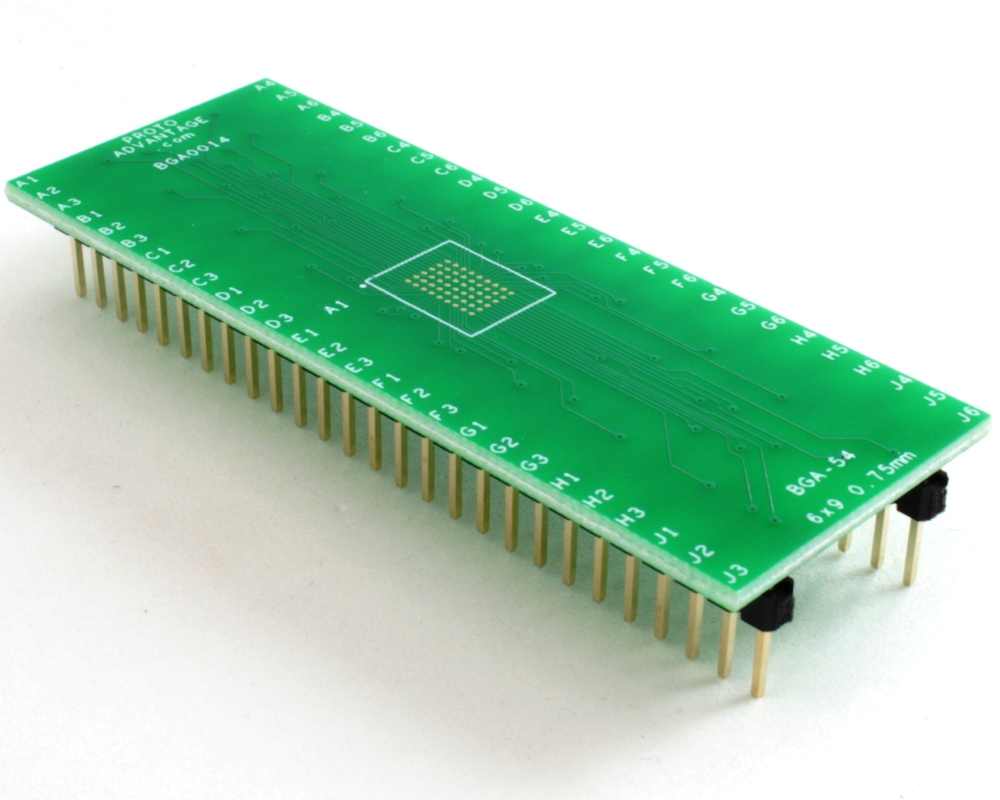 BGA-54 to DIP-54 SMT Adapter (0.75 mm pitch, 6 x 9 grid) 0