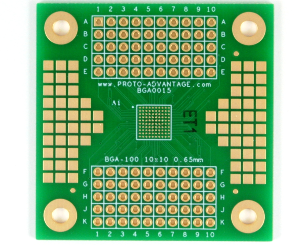 BGA-100 SMT Adapter (0.65 mm pitch, 10 x 10 grid) 0