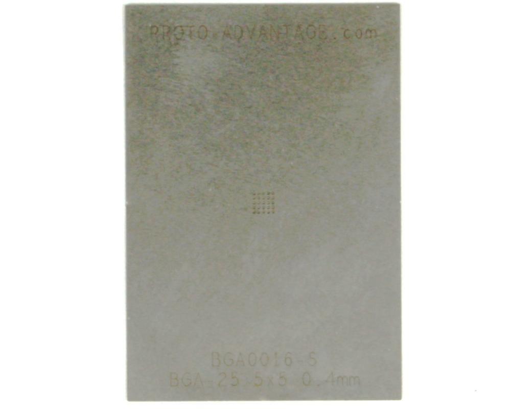 BGA-25 (0.4 mm pitch, 5 x 5 grid) Stainless Steel Stencil 0