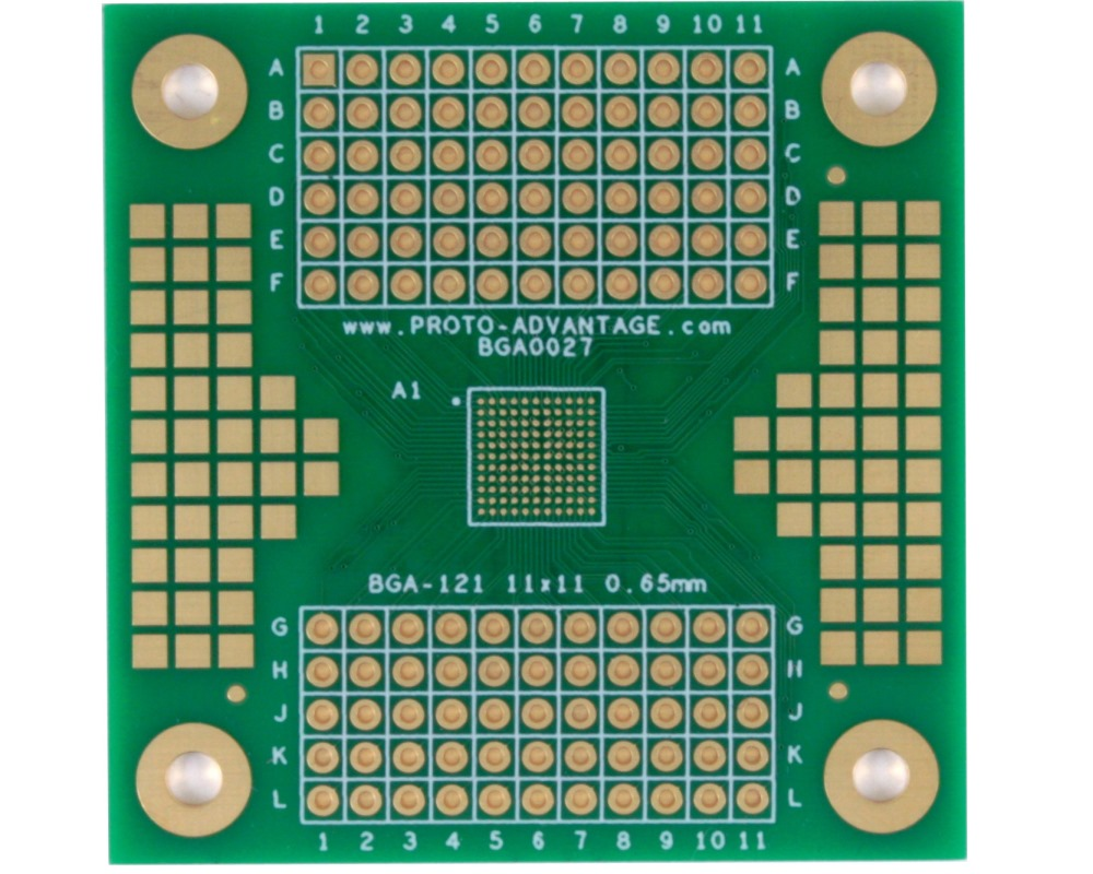 BGA-121 SMT Adapter (0.65mm pitch, 11 x 11 grid) 0