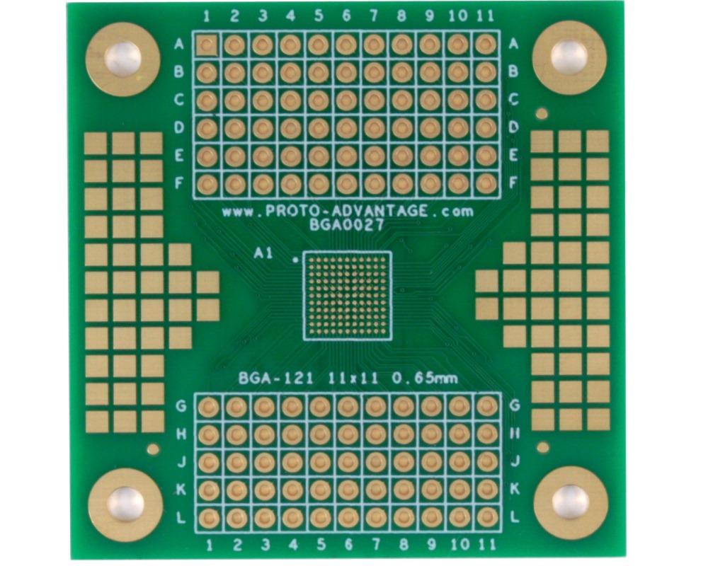 BGA-121 SMT Adapter (0.65mm pitch, 11 x 11 grid) 0