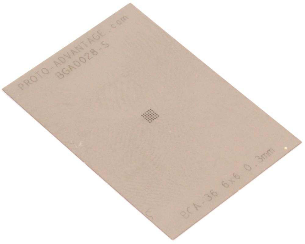 BGA-36 (0.3 mm pitch, 6 x 6 grid) Stainless Steel Stencil 0
