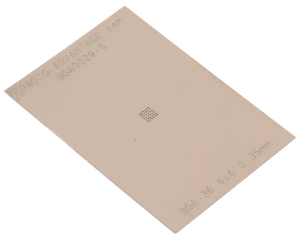 BGA-36 (0.35 mm pitch, 6 x 6 grid) Stainless Steel Stencil 0
