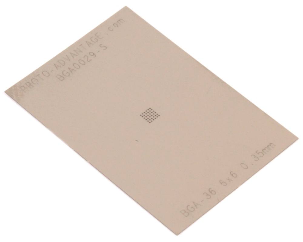 BGA-36 (0.35 mm pitch, 6 x 6 grid) Stainless Steel Stencil 0