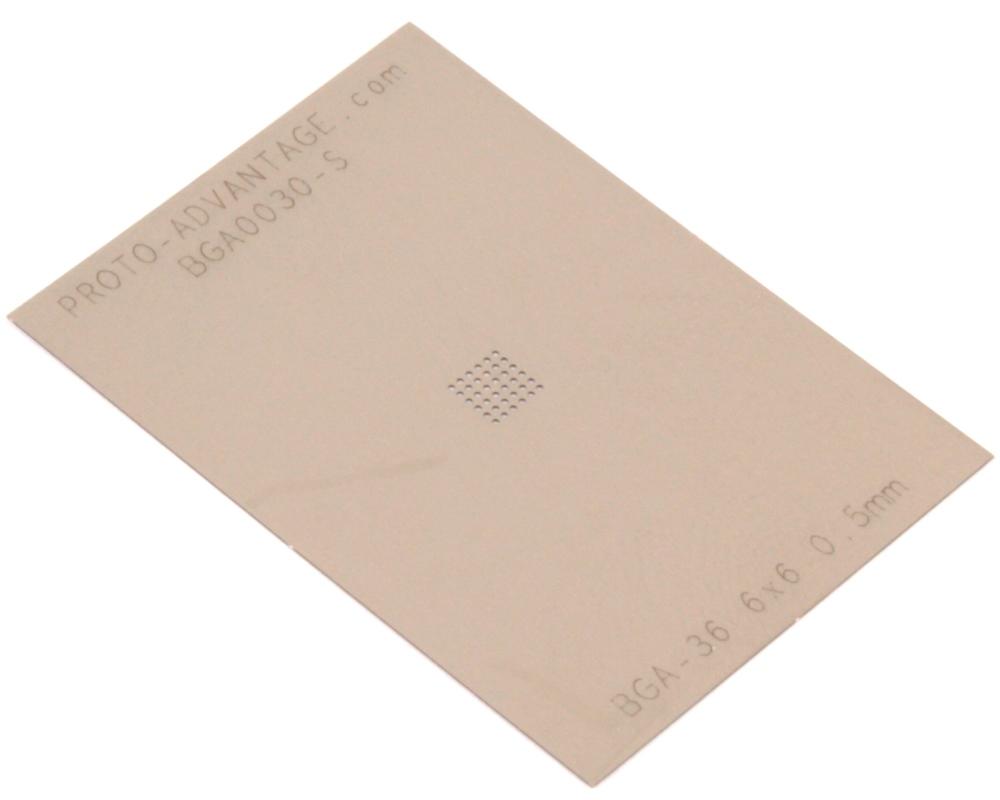 BGA-36 (0.5 mm pitch, 6 x 6 grid) Stainless Steel Stencil 0