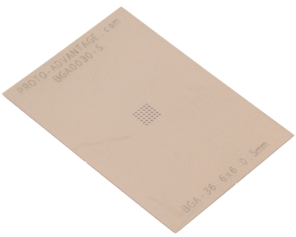 BGA-36 (0.5 mm pitch, 6 x 6 grid) Stainless Steel Stencil 0