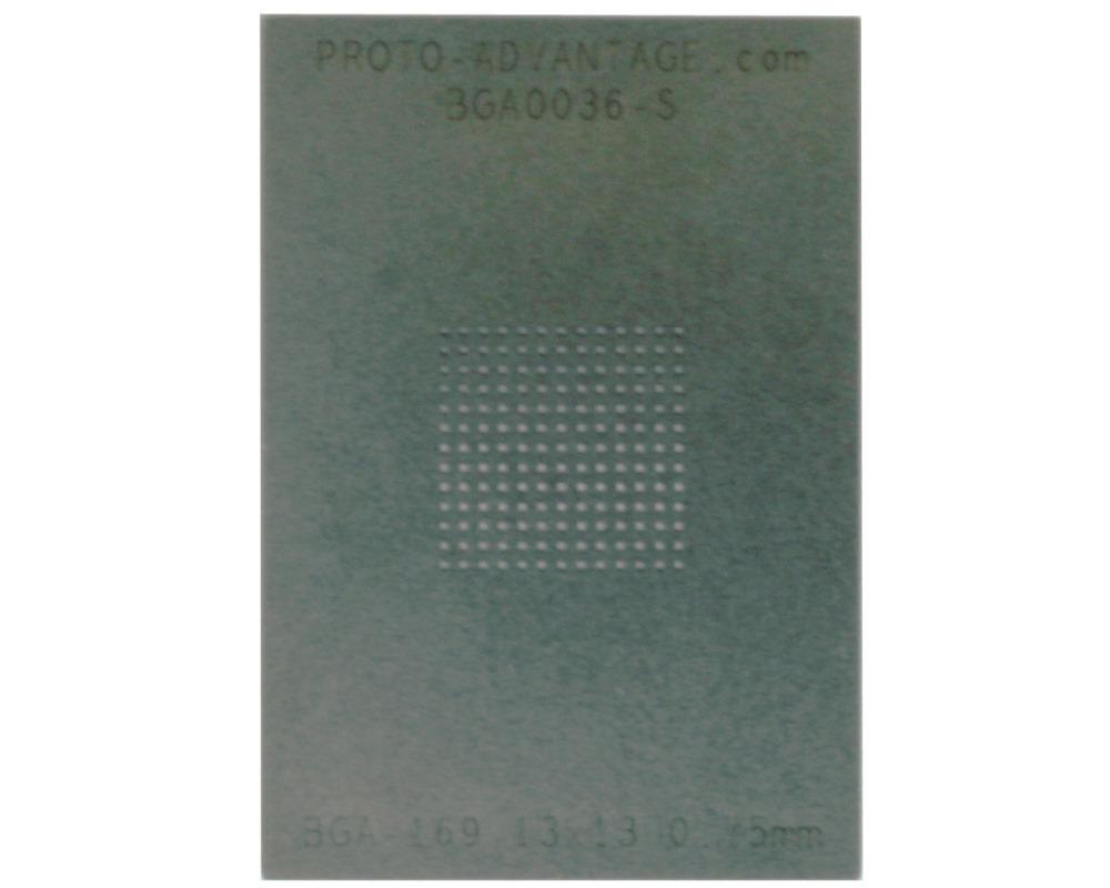 BGA-169 (0.75mm pitch, 13x13 grid) Stainless Steel Stencil 0