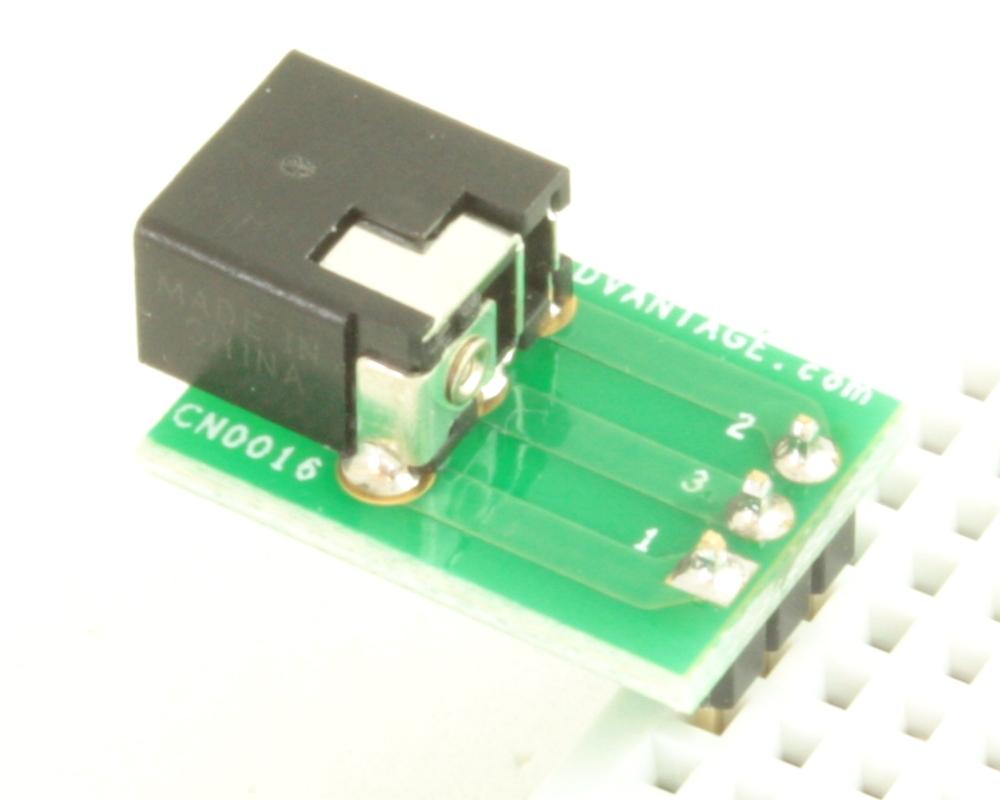 Jack 1.35mm ID, 3.5mm OD adapter board 1