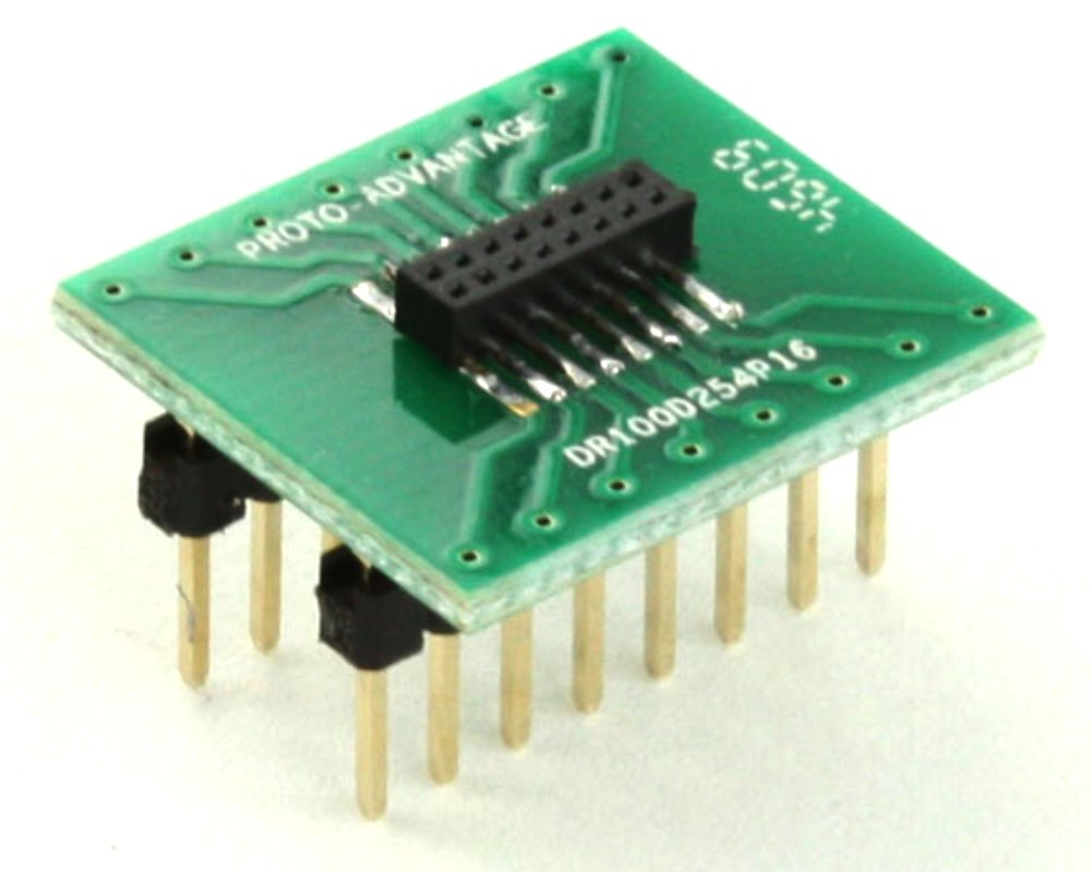 Dual Row 1.00mm Pitch 16-Pin Female Header to DIP-16 Adapter 0