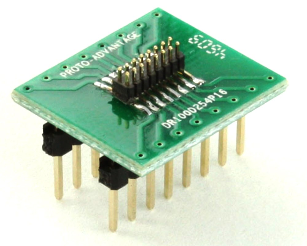Dual Row 1.00mm Pitch 16-Pin Male Header to DIP-16 Adapter 0