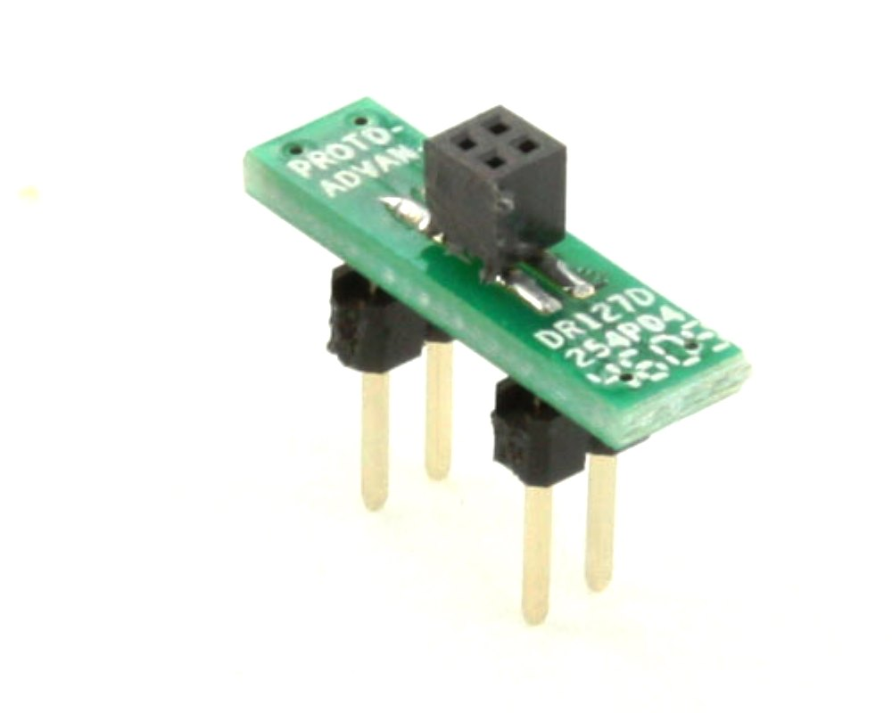 Dual Row 1.27mm Pitch  4-Pin Female Header to DIP-4 Adapter 0
