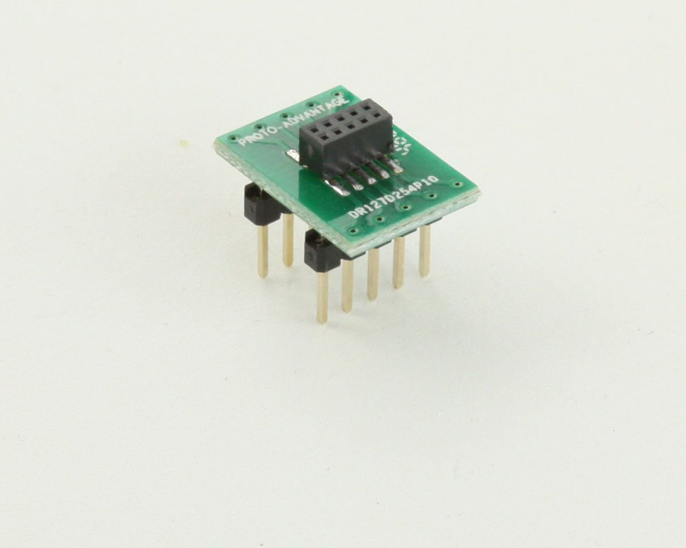 Dual Row 1.27mm Pitch 10-Pin Female Header to DIP-10 Adapter 0