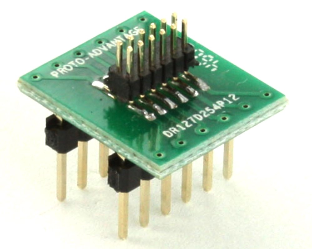 Dual Row 1.27mm Pitch 12-Pin Male Header to DIP-12 Adapter 0