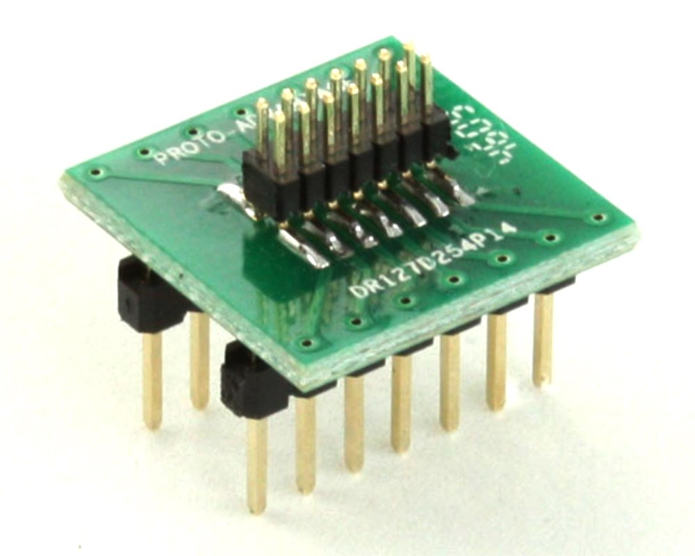 Dual Row 1.27mm Pitch 14-Pin Male Header to DIP-14 Adapter 0