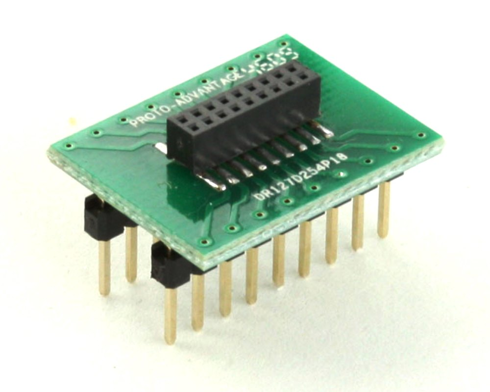 Dual Row 1.27mm Pitch 18-Pin Female Header to DIP-18 Adapter 0