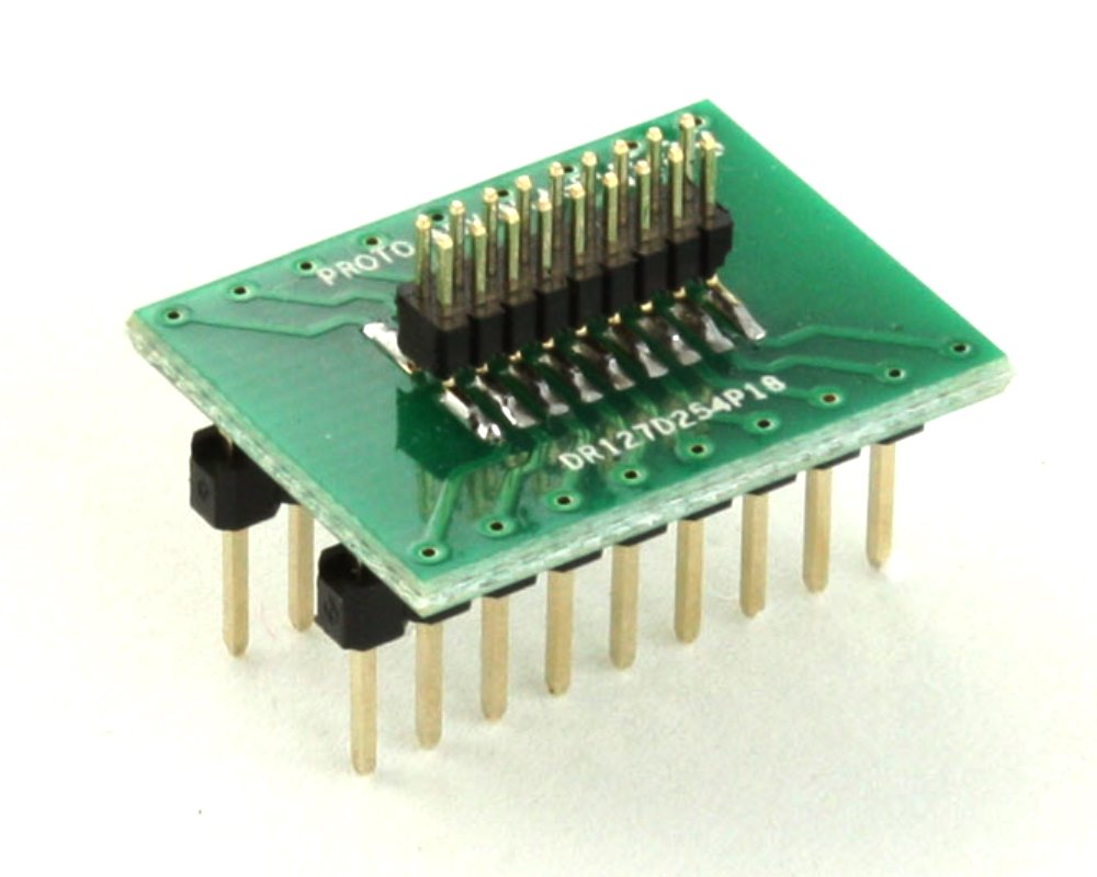Dual Row 1.27mm Pitch 18-Pin Male Header to DIP-18 Adapter 0