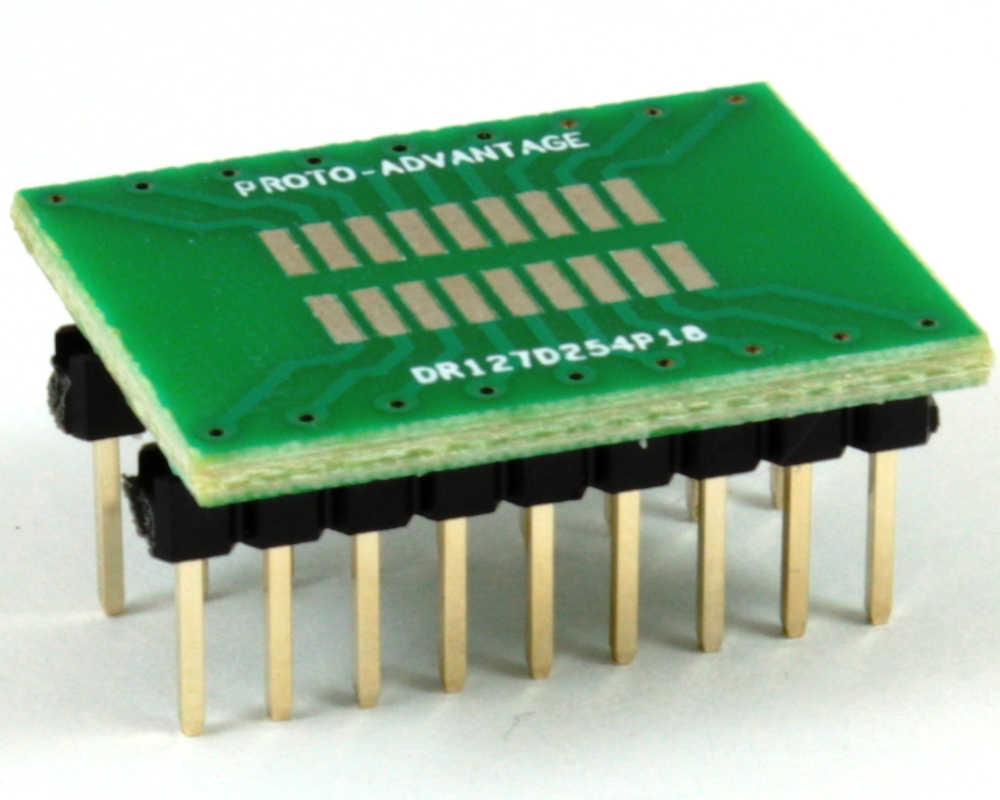 Dual Row 1.27mm Pitch 18-Pin to DIP-18 Adapter 0