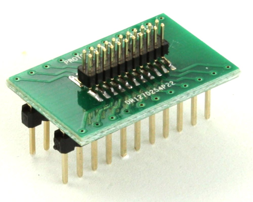 Dual Row 1.27mm Pitch 22-Pin Male Header to DIP-22 Adapter 0