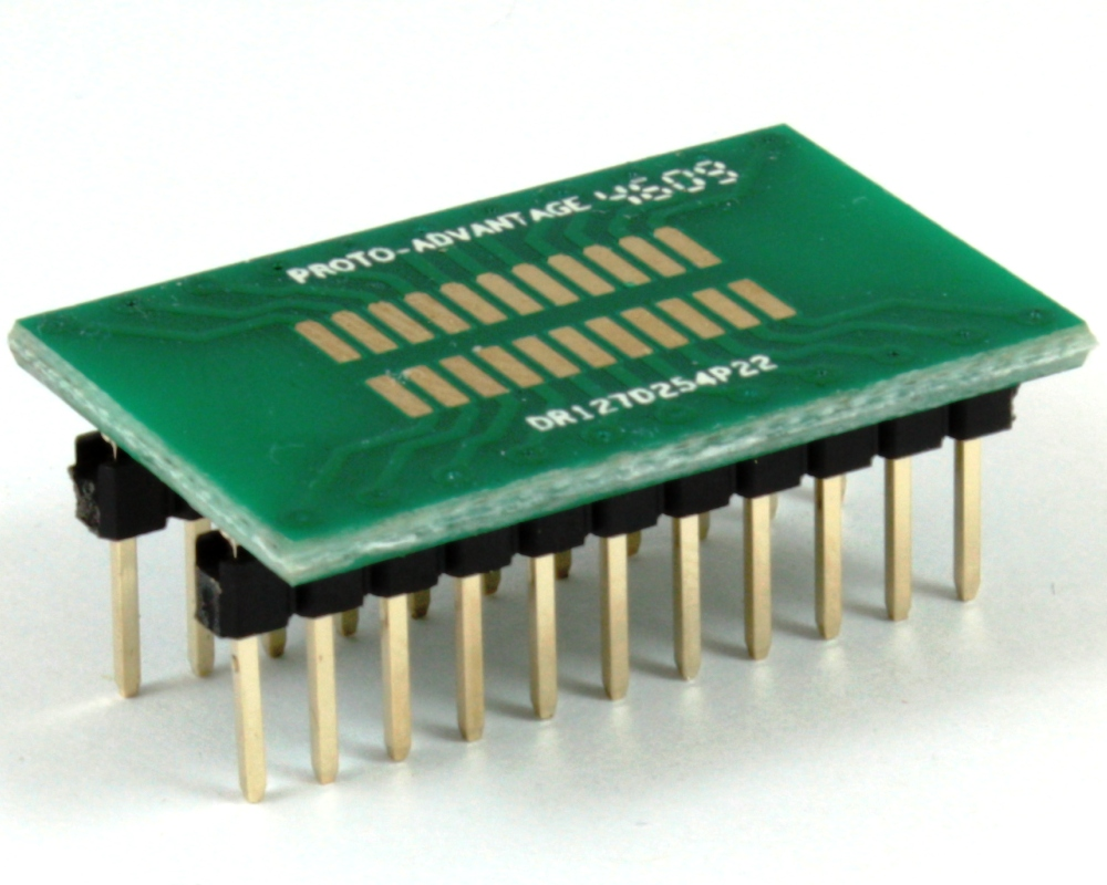 Dual Row 1.27mm Pitch 22-Pin to DIP-22 Adapter 0