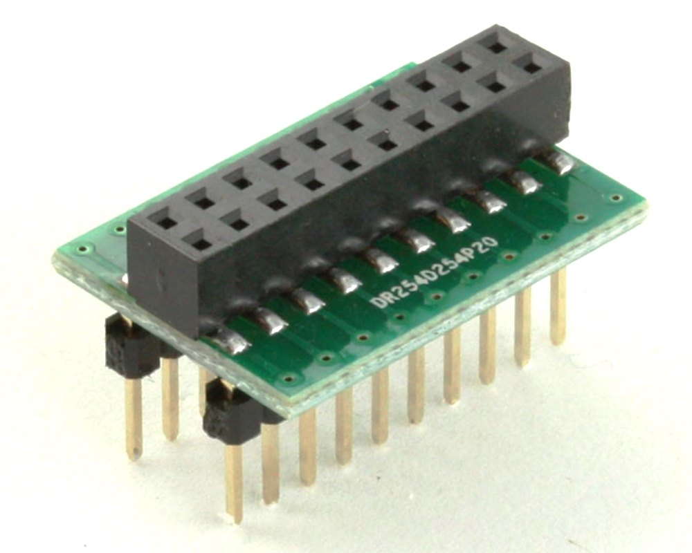 Dual Row 2.54mm Pitch 20-Pin Female Header to DIP-20 Adapter 0