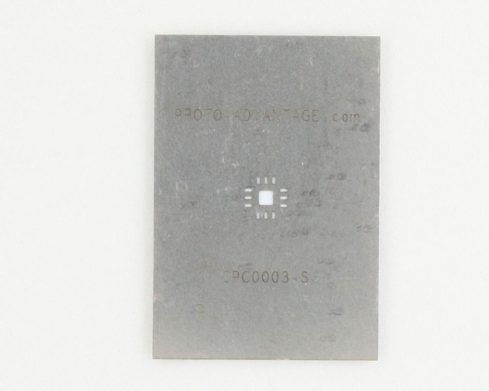 QFN-12 (0.8 mm pitch, 4 x 4 mm body, 2.1 x 2.1 mm pad) Stainless Steel Stencil 0