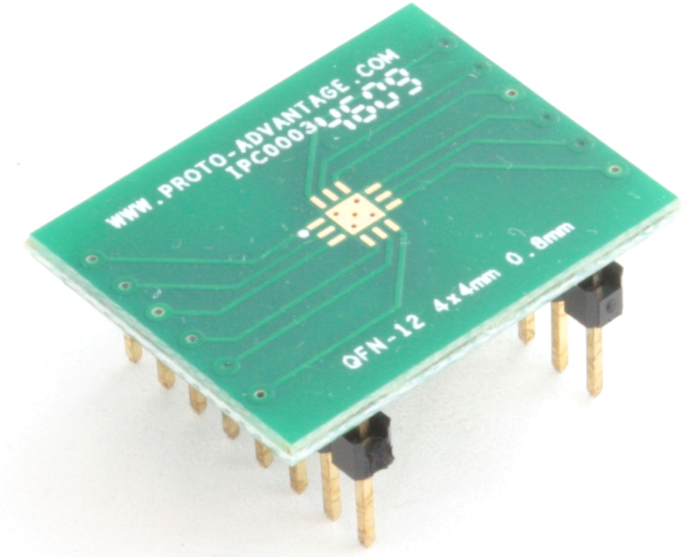QFN-12 to DIP-16 SMT Adapter (0.8 mm pitch, 4 x 4 mm body, 2.1 x 2.1 mm pad) 0