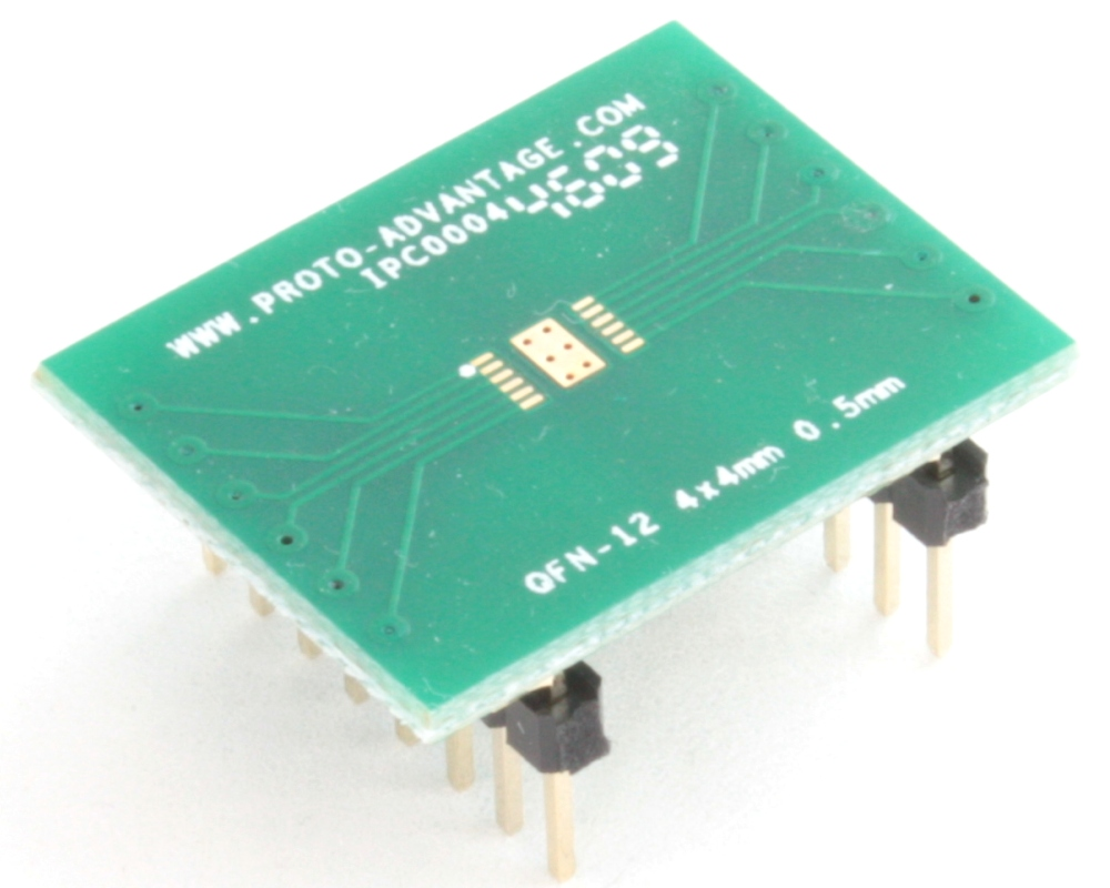 QFN-12 to DIP-16 SMT Adapter (0.5 mm pitch, 4 x 4 mm body, 1.6 x 2.8 mm pad) 0