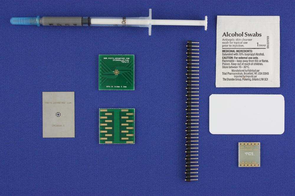 LFCSP-16 (0.5 mm pitch, 3 x 3 mm body, 1.5 x 1.5 mm pad) PCB and Stencil Kit 0