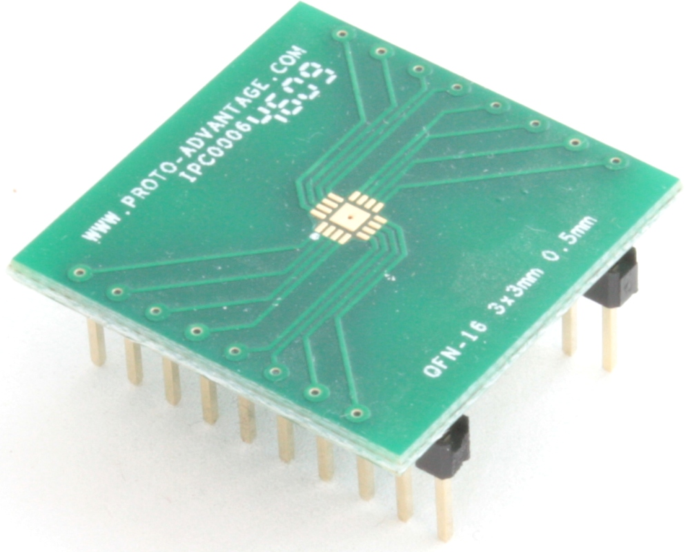 QFN-16 to DIP-20 SMT Adapter (0.5 mm pitch, 3 x 3 mm body, 1.5 x 1.5 mm pad) 0