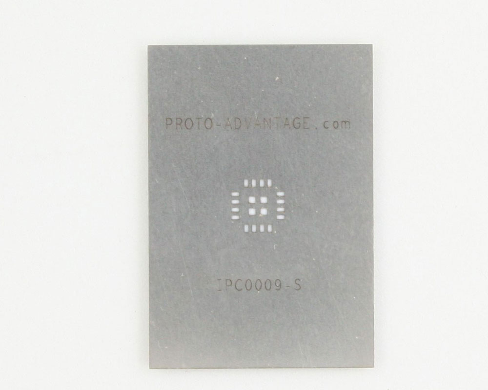 QFN-16 (0.8 mm pitch, 5 x 5 mm body, 2.7 x 2.7 mm pad) Stainless Steel Stencil 0