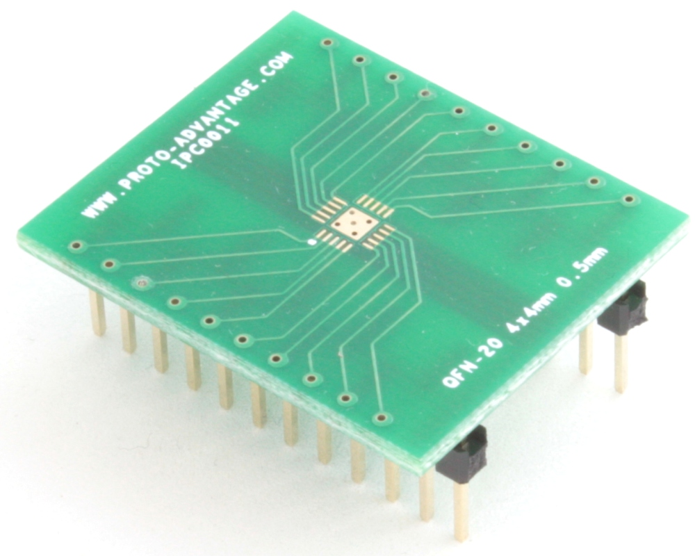 LFCSP-20 to DIP-24 SMT Adapter (0.5 mm pitch, 4 x 4 mm body, 2.1 x 2.1 mm pad) 0