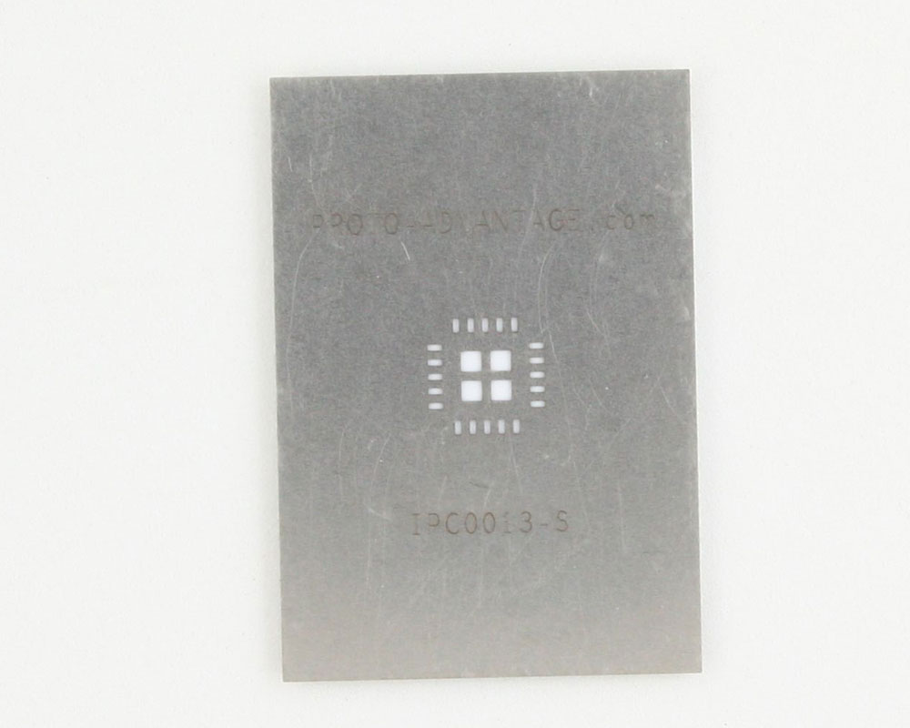 QFN-20 (0.8 mm pitch, 6 x 6 mm body, 3.4 x 3.4 mm pad) Stainless Steel Stencil 0