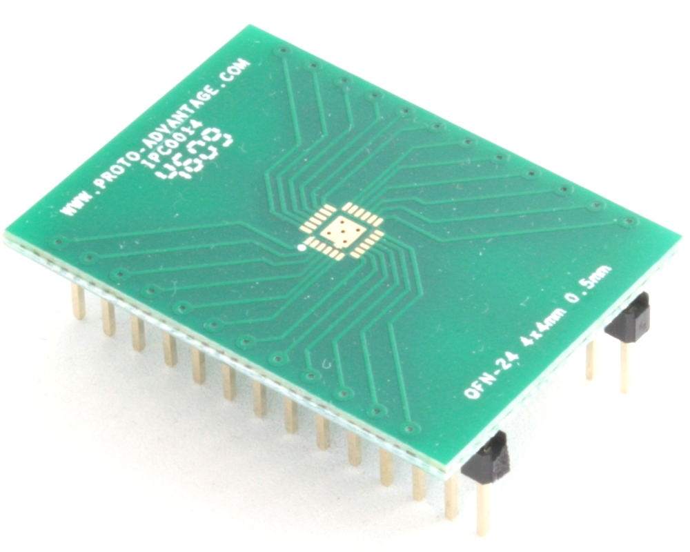 QFN-24 to DIP-28 SMT Adapter (0.5 mm pitch, 4 x 4 mm body, 2.1 x 2.1 mm pad) 0