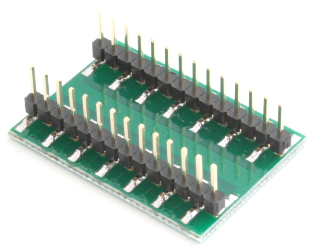 QFN-24 to DIP-28 SMT Adapter (0.5 mm pitch, 4 x 4 mm body, 2.1 x 2.1 mm pad) 1