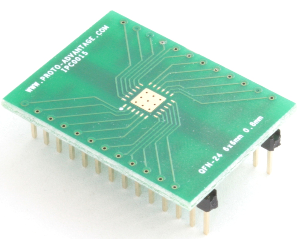 QFN-24 to DIP-28 SMT Adapter (0.8 mm pitch, 6 x 6 mm body, 3.8 x 3.8 mm pad) 0