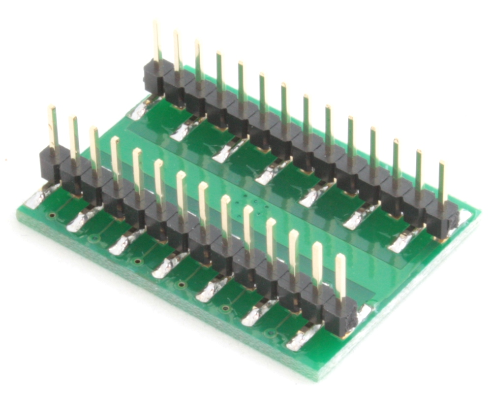 QFN-24 to DIP-28 SMT Adapter (0.8 mm pitch, 6 x 6 mm body, 3.8 x 3.8 mm pad) 1