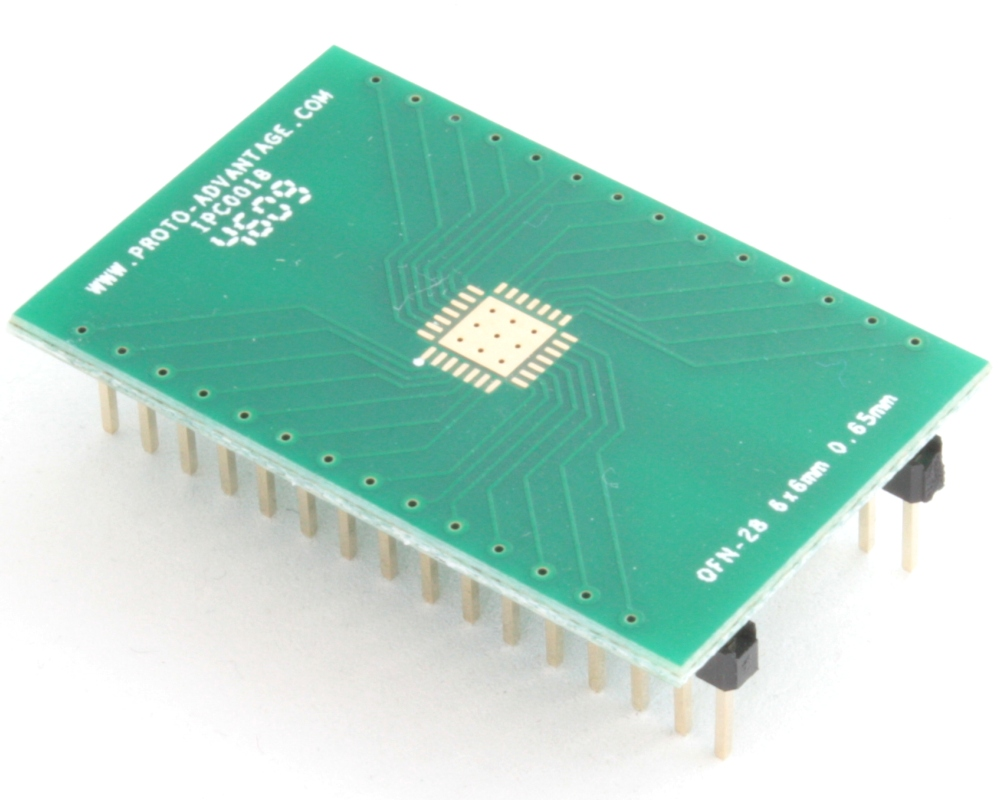 QFN-28 to DIP-32 SMT Adapter (0.65 mm pitch, 6 x 6 mm body, 4.1 x 4.1 mm pad) 0
