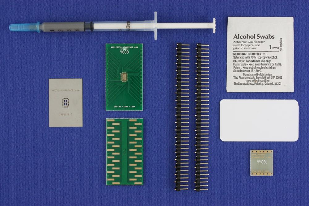 LFCSP-32 (0.5 mm pitch, 4 x 6 mm body, 2.5 x 4.5 mm pad) PCB and Stencil Kit 0