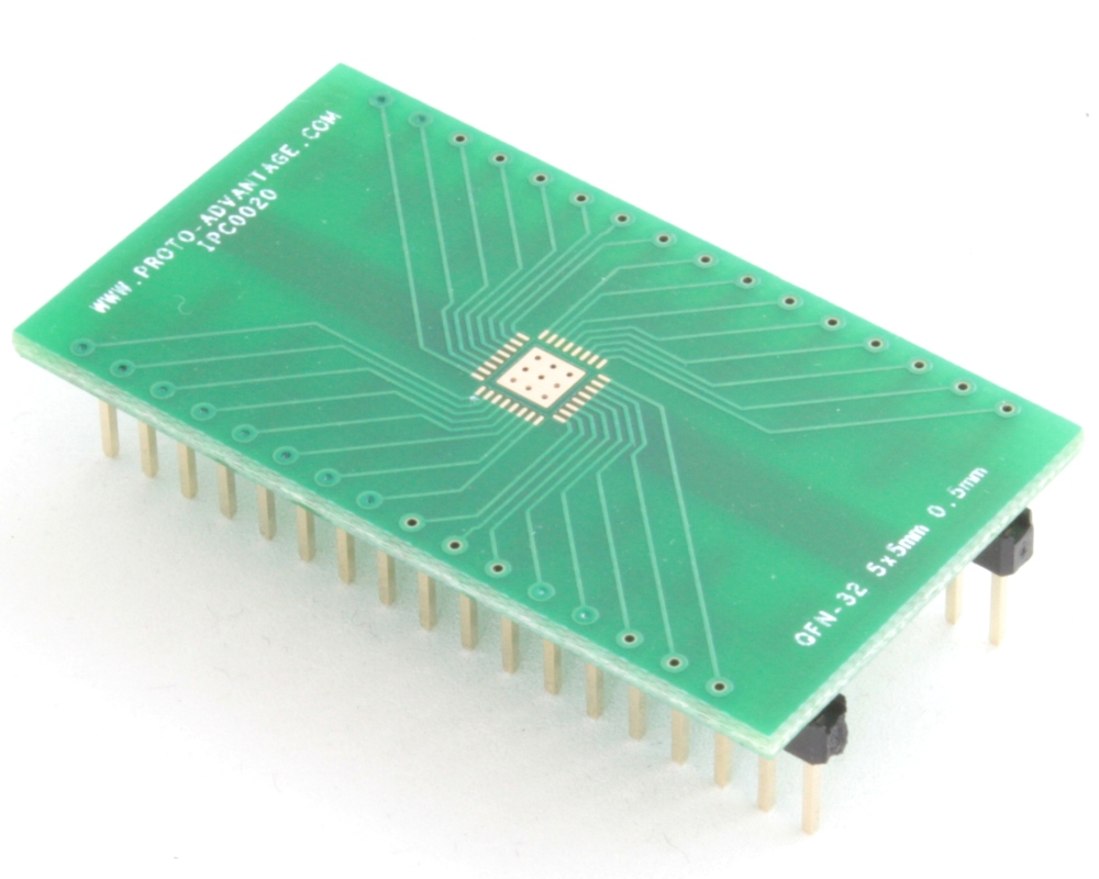 QFN-32 to DIP-36 SMT Adapter (0.5 mm pitch, 5 x 5 mm body, 3.1 x 3.1 mm pad) 0